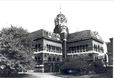Black and white photo of building called Abbey Mills Pumping Station 1978 Courtesy London Borough of Newham Library and Archive