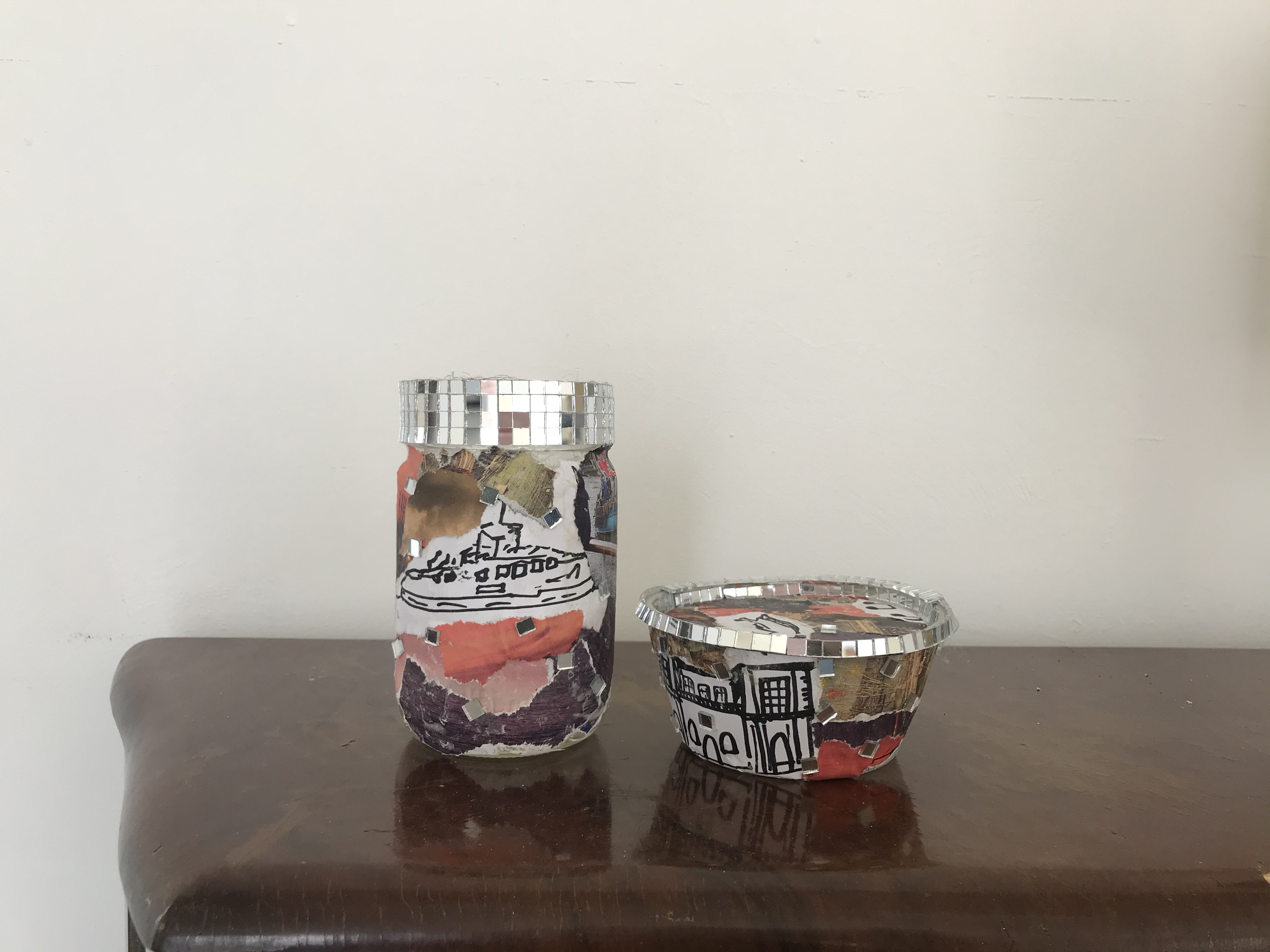 Image of a decorated container using home art materials