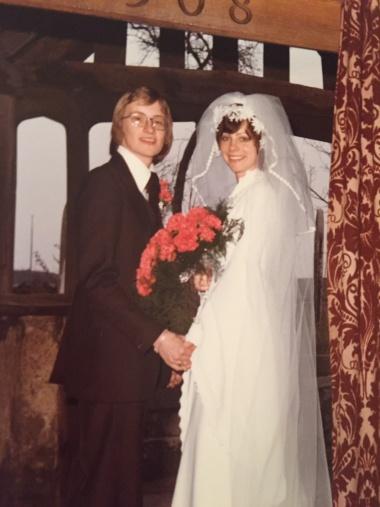Colour photo of wedding couple 1970s
