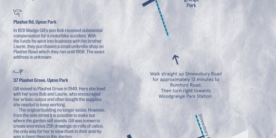 Map with a walking route of Newham with sites marked significant in artist Madge Gill's life and eventual death