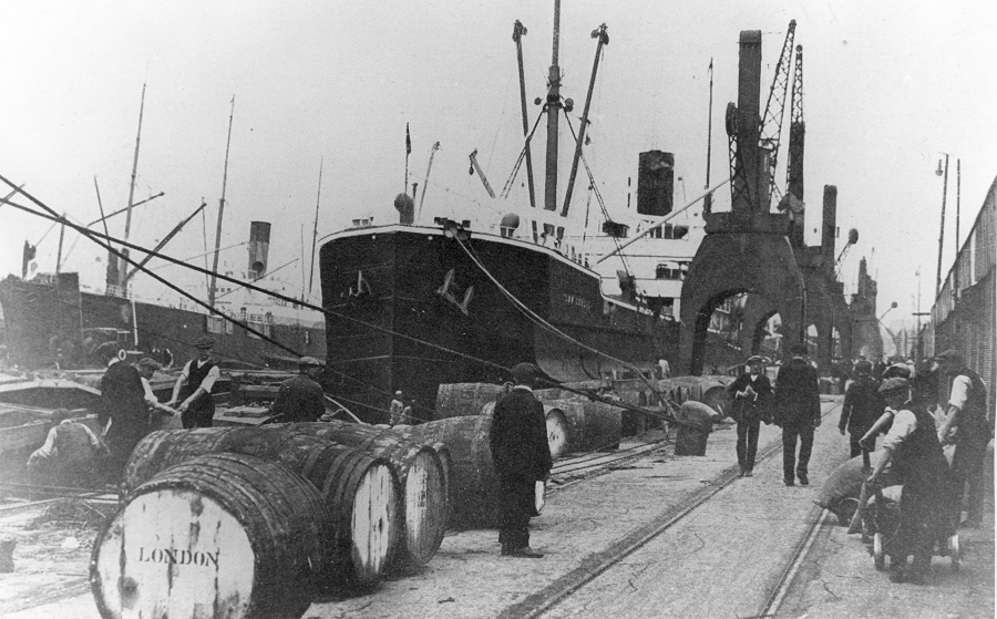 Black and white photos of Royal Albert Dock. 1914. Courtesy London Borough of Newham Library & Archive
