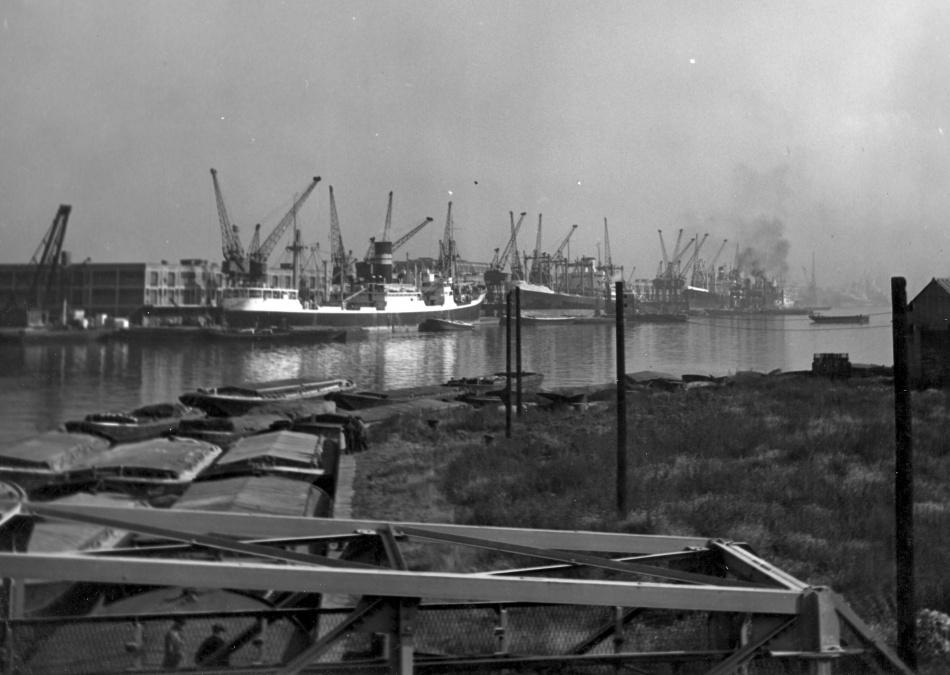 Royal Docks black and white photograph