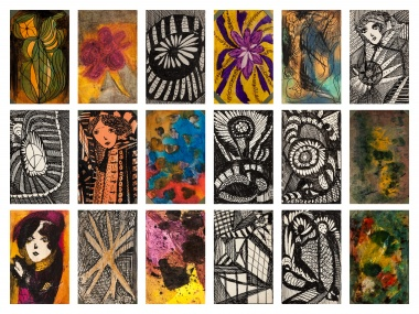 eighteen postcard sized bright coloured and black and white drawings and paintings by artist Madge Gill