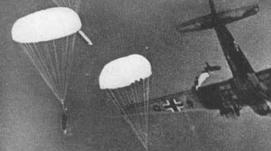 Parachute mines being dropped by a German plane