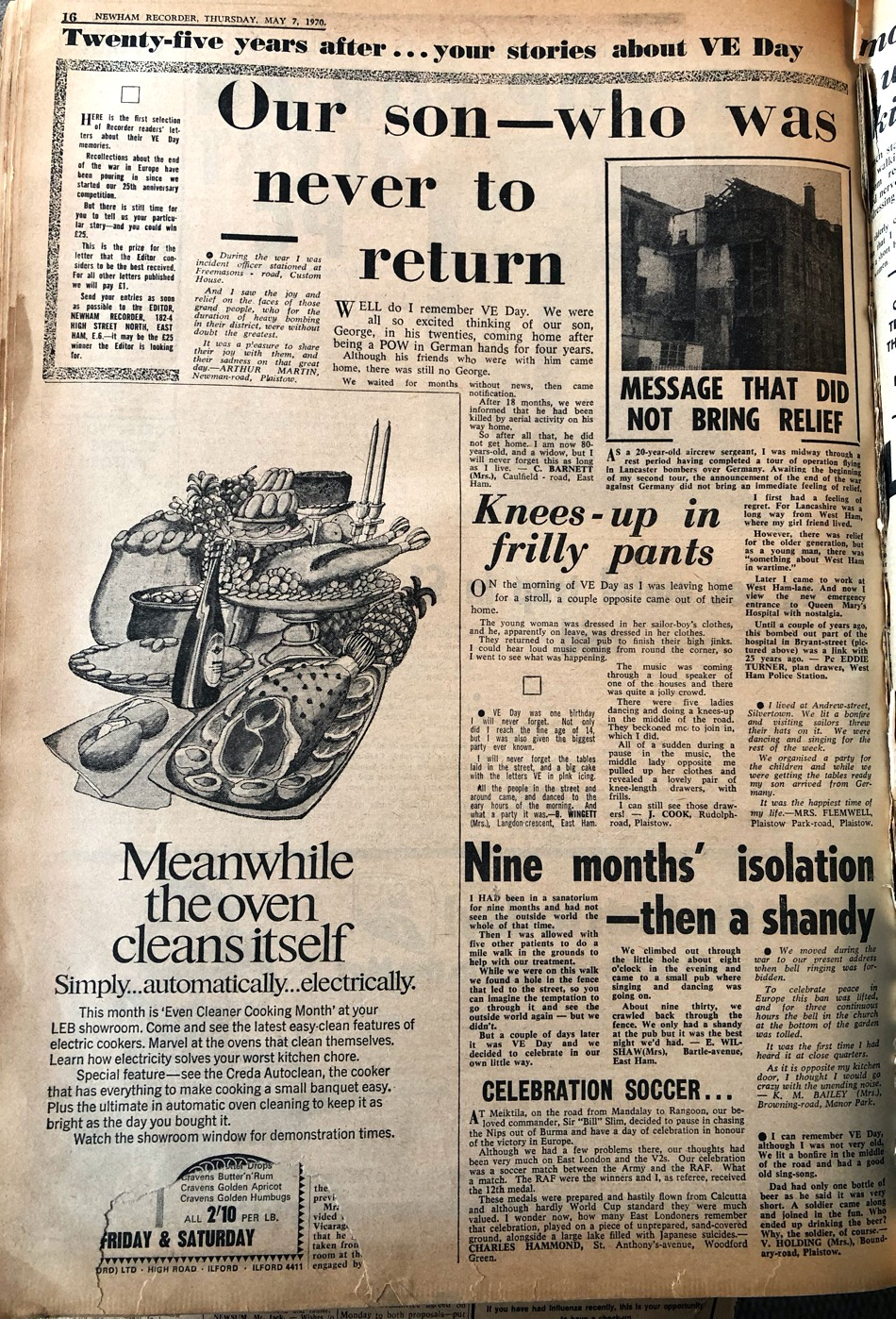 Newspaper article clipping - 7 May 1970